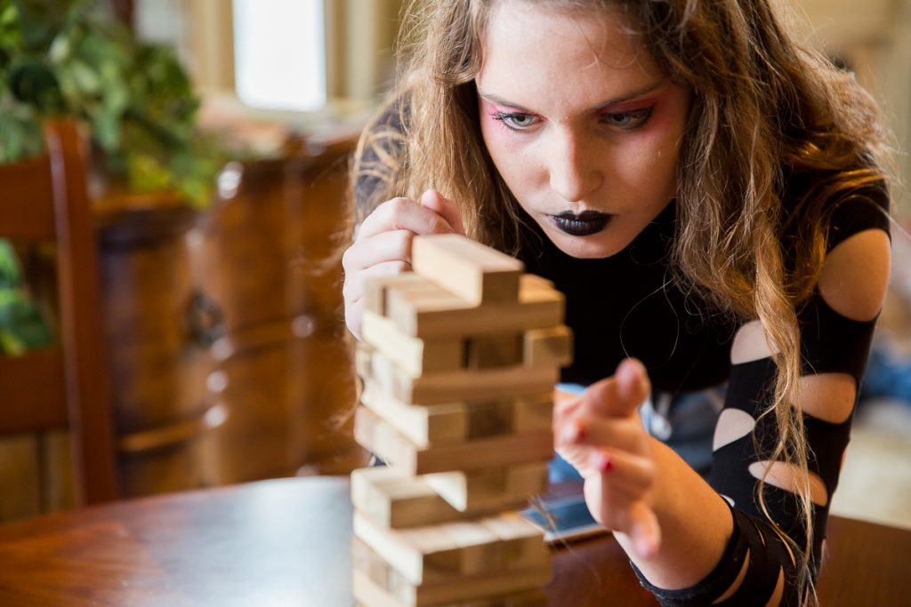2/52 jenga player, event photographer, goth makeup