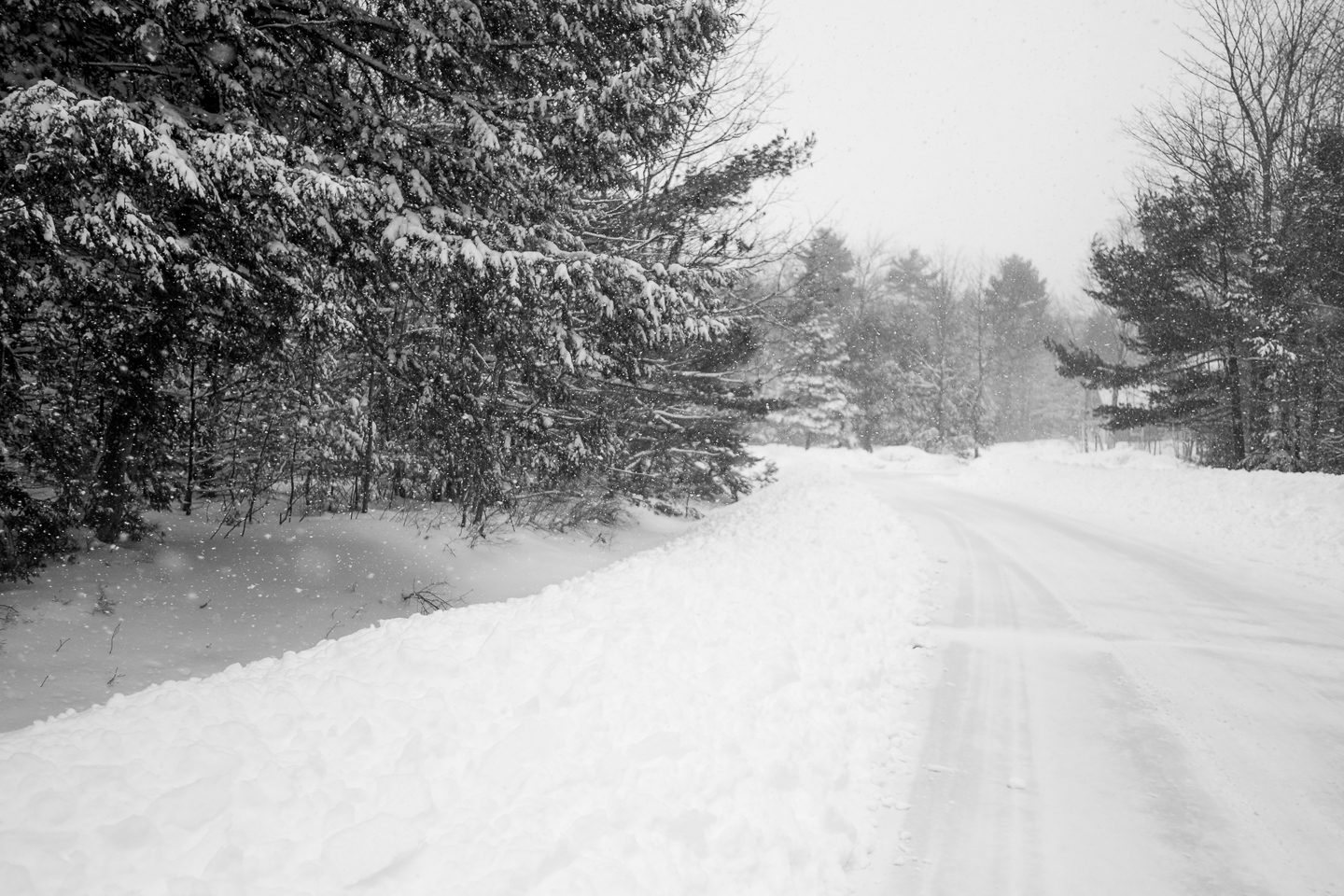 snowy road scarborough maine